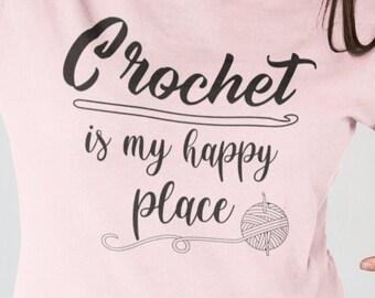 Crochet is my Happy Place Short-Sleeve Unisex T-Shirt