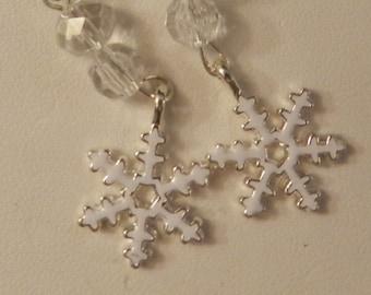 Silver Enameled Snowflake Crystal Christmas Earrings V4208