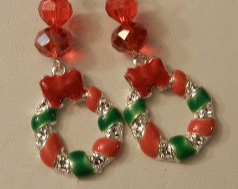 Christmas Wreath Holiday red crystal Silver Earrings V4219