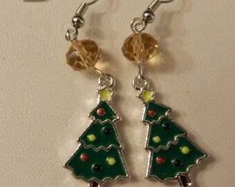 Christmas Tree Holiday Silver Earrings V4225