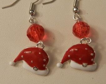 Silver Red Santa Hat red crystal Christmas  Earrings V4209