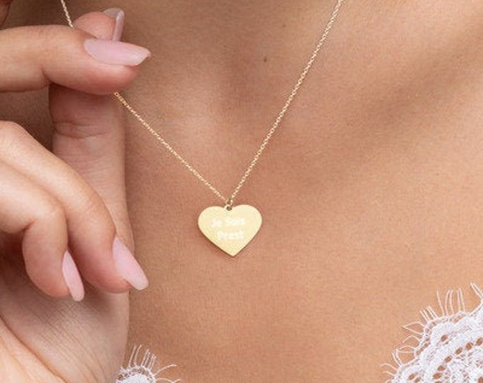 Featured listing image: Je Suis Prest Engraved Silver Heart Necklace