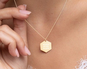 Blood of my Blood Engraved Hexagon Necklace
