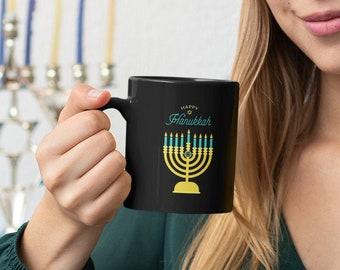 Black Mug Happy Hanukkah