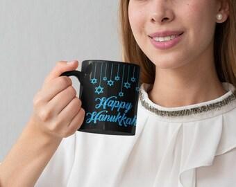 Happy Hanukkah Black Mug