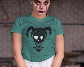Halloween Playing Card Skull Harley Quinn Unisex Short Sleeve T Shirt