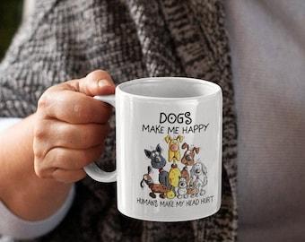 Dogs make me Happy White glossy coffee mug