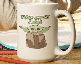 Yoda Too Cute I am White glossy Coffee mug