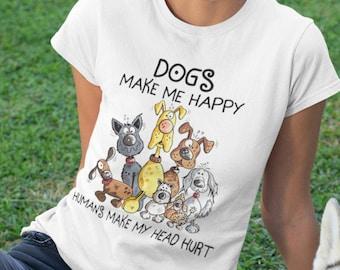 Dogs make me Happy Short-Sleeve Unisex T-Shirt