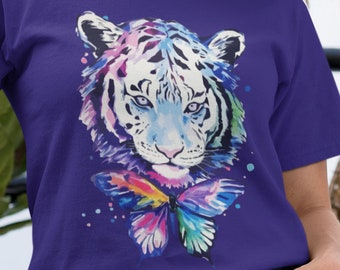 Painted Tiger and Butterfly Unisex Short Sleeve T-Shirt