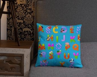 Blue ABC Spun Polyester Square Pillow
