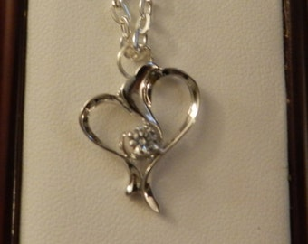 925 Silver Heart and  Clear Austrian Crystal Necklace  V8