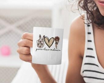 Peace Love Melanin White glossy Coffee mug