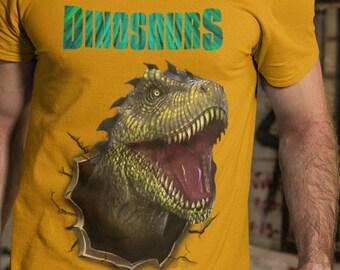 Crew Neck Dinosaurs Unisex Tee T Shirt