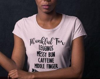Thankful for Leggings Messy Buns Unisex Short Sleeve T-Shirt