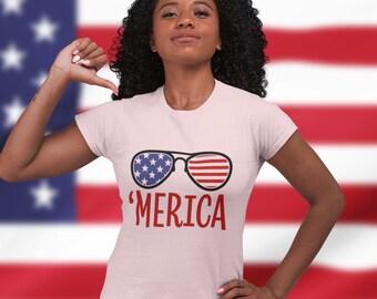 Flag Glasses 'Merica Short Sleeve Unisex T Shirt