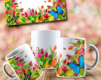 Colorful Butterflies White Glossy Coffee Mug