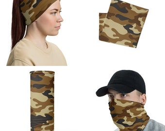 Brown Camo Neck Gaiter Face Mask, Face Cover, Face Protector, Headband, Neck warmer, Beanie, Hair Tie