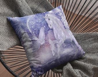 Beautiful White Unicorn Basic Pillow