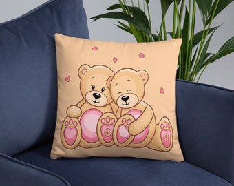Bears and Hearts Spun Polyester Square Pillow