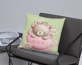 Little Bear in a Tea cup Spun Polyester Square Pillow