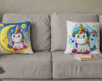 Baby Unicorn Double Sided Throw Pillows