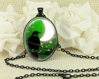 Halloween Gothic Raven Crescent Moon Oval Necklace V3892