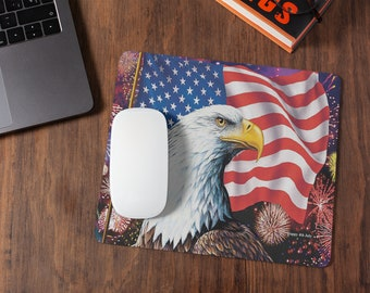 Eagle, Flag Fireworks Mousepad