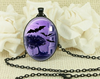 Halloween Gothic Bats Oval Necklace V3890