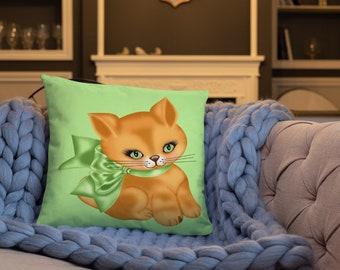 Kitty with Green Ribbon Spun Polyester Square Pillow