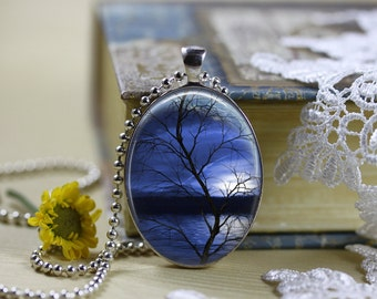 Mystical Horizons Moons Silhouettes Oval Necklace V4