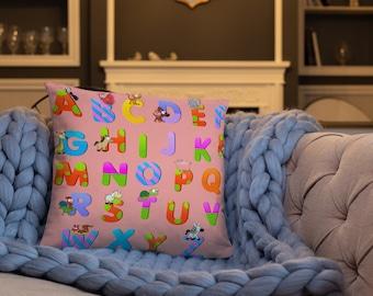 Pink ABC Spun Polyester Square Pillow