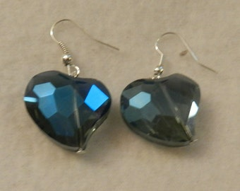 Large Blue Crystal Earrings  V1