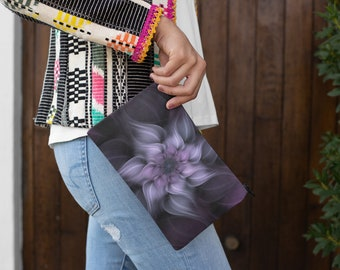 White n Lilac Floral Cosmetic Accessory Pouch