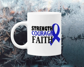 Blue Ribbon Colon Cancer Erbs Palsy Huntingtons Disease Awareness Mug