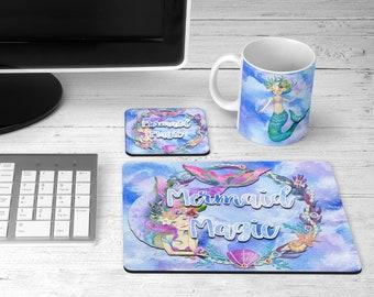 Mermaid Magic  Mousepad, Coasters and Mug
