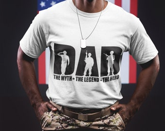 Military Dad - DAD The Myth The Legend  The Hero Short-Sleeve Unisex T-Shirt Fathers Day Shirt