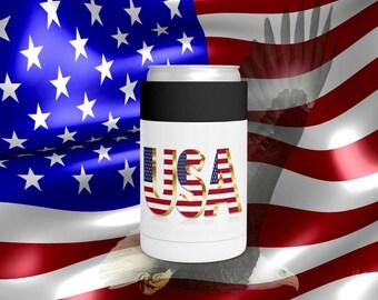 Usa Flag Patriotic Can Bottle  Holder