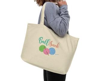 Ball Sack Large organic tote bag Knitting Bag Crochet Bag