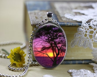 Mystical Horizons Moons Silhouettes Oval Cabochon Necklace  V2