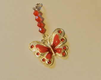 Red Enameled Butterfly Zipper pull Purse Pull Hoodie pull V4532