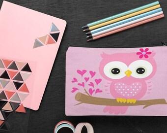 Little Pink Owl Accessory Pouch Pencil Case