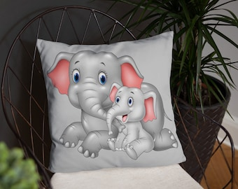 Momma and Baby Elephant Spun Polyester Square Pillow