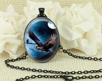 Halloween Gothic Bats Full Moon Oval Necklace V3889
