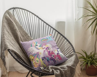 Ponies and Unicorns Spun Polyester Square Pillow