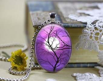 Mystical Horizons Moons Silhouettes Oval Cabochon Necklace V1
