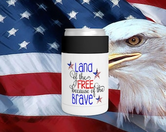 Land Of The Free Can Bottle Holder