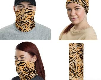 Tiger Print Neck Gaiter Face Mask, Face Cover, Face Protector, Headband, Neck warmer, Beanie, Hair Tie