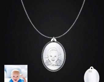 Baby Photo Engraved Pendant