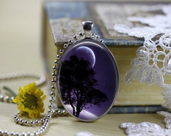 Mystical Horizons Moons Silhouettes Oval Cabochon Necklace V3